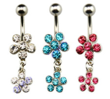 CZ Gem Clear Turquoise Red Flower Design Dangle Navel Belly Button Ring Bar UK