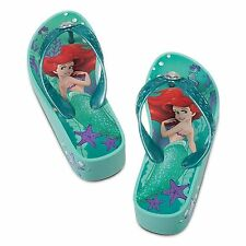 Disney Store Little Mermaid Princess Ariel Platform Flip Flops Girls Size 11/12