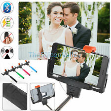 Wired Bluetooth Shutter Extendable Handheld Selfie Stick Monopod iPhone Phone