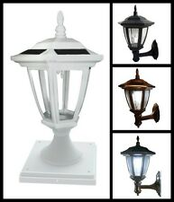 4-Pack Solar Hexagon Lights With  Wall Mount or  Fence Post Cap Base - New Model