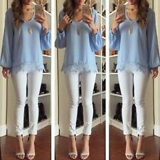 Fashion Ladies Womens Chiffon Lace Crochet Long Sleeve Shirt Casual Blouse Tops