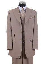 Men's Three Button Poly Poplin Solid Suit With Collared Vest 905V Tan, Purple