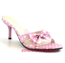 Soo Cute Mid Heel Slide Light Pink Polka Dot Sandals