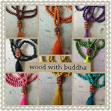 carved buddha wooden bead tail tassel pendant necklace