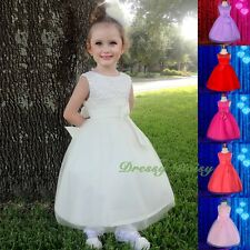 Beaded Soft Tulle Formal Dress Wedding Flower Girl Party Communion Size 2-7 #257