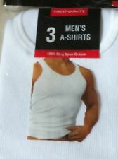 Pack of 3 Mens White Tank Top 100% Ring Spun Cotton A-Shirt, Tagless, Undershirt