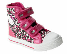 GIRLS HELLO KITTY PINK LEOPARD PRINT VELCRO SHOES HI TOP TRAINERS BOOTS UK 8-2