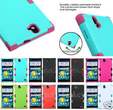 For ZTE Tuff Hybrid Heavy Duty Tough Cell Phone Case Cover + Screen Protector
