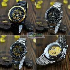 Men's Gold Silver Dial Skeleton Automatic Mechanical Sport Business Wrist Watch