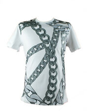 Versace Jeans Chain Print 24 Rubino White Crew Neck T-Shirt Regular Fit Mens