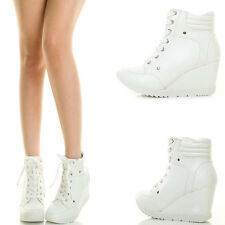 White Quilted High Top Lace Up Wedge Heel Platform Fashion Sneaker Ankle Booties