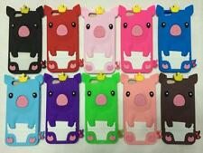 3D Cute Crown Pig Rubber Silicone Back Cover Case For iPhone 4 4S 5 5S 6 Touch 5