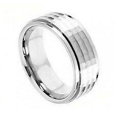 Cobalt Ring Wedding Band 9MM Hammer Finished Stepped Down Edge Fashion Jewelry