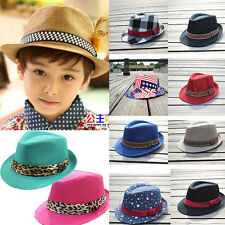 Toddler Kids Boys Girls Fedora Trilby Panama Cowboy Jazz Beret Hat Cap Sunhat