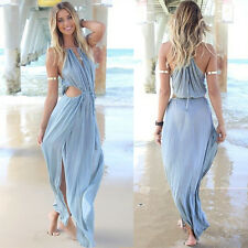 Sexy Women Summer Holiday Boho Long Maxi Evening Party Beach Chiffon Dress 8-14