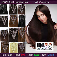 Silky 100% Real AAA Clip In Remy Human Hair Extensions Full Head Cheap Weave F13