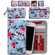 Womens Flower Pattern Wallet Case Cover for Smart Cell Phones by KroO ESMLF-18