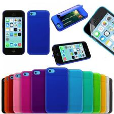 Hybrid Credit Card Holder Hard Silicone Stand Case Cover For Apple iPhone 5c