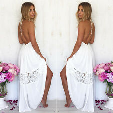 Sexy Women Maxi Long Lace Cocktail Evening Summer Beach Backless Ball Gown Dress