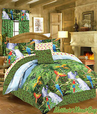 MACAW PARROTS BIRDS TROPICAL RAINFOREST PALM LEAF/LEAVES COMFORTER BED in a BAG