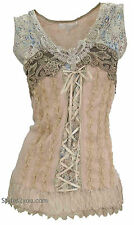 Pretty Angel Mercer Women's Vintage Corset Top In Carmel *67642CA