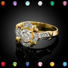 Gold Halo Heart Setting CZ Solitaire Birthstone Engagement Ring (USA)