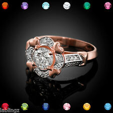 Rose Gold Halo Heart Setting CZ Solitaire Birthstone Engagement Ring (USA)