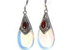 Sterling Silver Man Made MoonStone and Smaller Stone Tear Drop Earrings