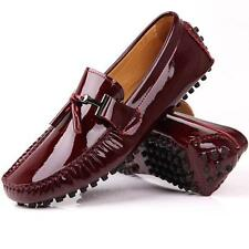Fulinken Burgundy patent Leather slip on Loafer driving car shoes men moccasin