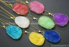Natural Druzy Quartz Agate Nugget Pendant Charm Necklace Healing Beads 18K Gold