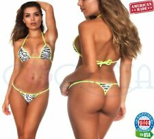 COQUETA Brazilian animal micro Thong bikini Swimsuit G String ZEBRA N YELLOW SET