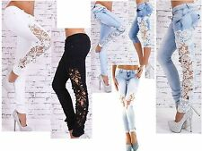 Ladies Womens Embroidered lace detail Blue fit Skinny Jeans Pants lot s of