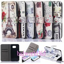 1 Flower Paris Eiffel Tower Flip PU Leather Wallet Stand Case Cover For Samsung