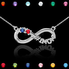 """22"""" Sterling Silver Infinity #1 MOM Double CZ Birthstone Necklace"""