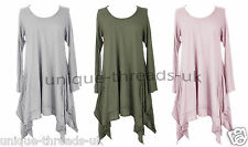 New Italian Ladies LAGENLOOK Quirky Angled DRAPE Stretch COTTON Jersey Dress Top