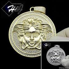 925 STERLING SILVER ICED OUT BLING SILVER/GOLD MEDUSA HEAD CHARM PENDANT*SP42