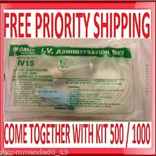 "IV ADMINISTRATION SET w/ ROLLER & ""Y"" PREPPER BUG OUT BAG Choose ml - 500 / 1000"