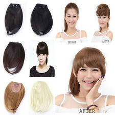 short straight neat bangs Clip on Front Neat Bang Fringe clip in Hair Extensions