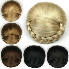 New Women's Braided Clip In Hair Bun Chignon Donut Roller Hairpieces Top Quality