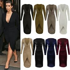 WOMENS LADIES RUCHED BODYCON PLUNGE LONG SLEEVE LOW CUT SPLIT PENCIL DRESS SIZE