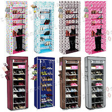 10 TIER CANVAS FABRIC SHOE RACK STORAGE CABINET ORGANISER RAIL WITH ZIPPER STAND