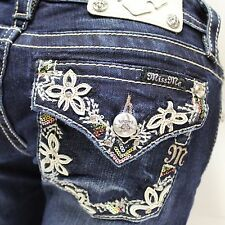 Miss Me Botanical Flower Border Boot Cut Lowrise Stretch Jeans JP7115B2 NEW!