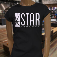 The Flash DC Barry Allen Laboratories Star Labs Womens Black T-Shirt
