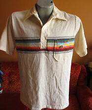 LARGE VINTAGE 80's HANG TEN RAINBOW STRIPED HAWAII SURFER SKATE POLO SHIRT T