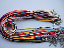 "20/50pcs Mixed 2mm Satin Silk Pendant Necklace Cord 18""-24"" With Extended chain"