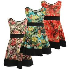 New Ladies Curve Summer Floral Prints Pleated Skater Dress 8-26