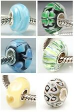 NEW 925 Silver Murano Glass Lampwork Swirl Abstract Charm European Bracelet Bead
