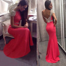 2015 Long Sequins Bridesmaid Formal Gown Ball Party Cocktail Evening Prom Dress