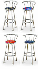 "FC55 24"" TALL CHROME FINISH METAL SWIVEL SEAT CUSHION KITCHEN COUNTER BARSTOOLS"