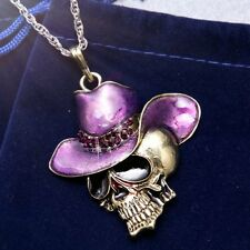 Fashion Retro Hiphop Men Cowboy-hat Skull Enamel Pendant Necklace Jewelry Charm